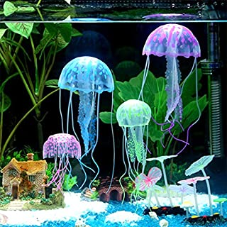ANTOLE 3pcs Glowing Jellyfish Aquarium Glowing Artificial Silicone Jellyfish For Fish Tank Aquarium decoration Vivid and L...