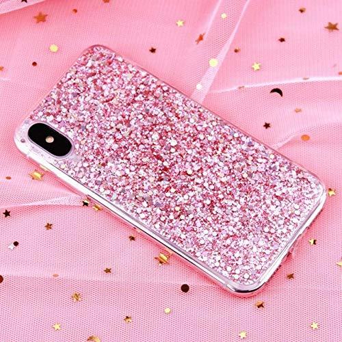 Funda para teléfono con Purpurina para iPhone 12 11 Pro XS MAX Funda de Cristal epoxi Suave de Lujo para iPhone XR X 6 6s 7 8 Plus SE 2 Fundas de Lentejuelas, Rosa, para 11 Pro MAX