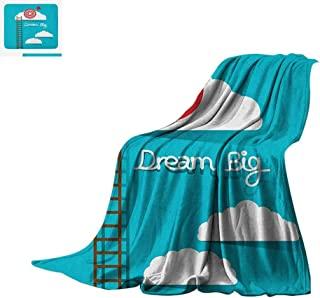 Luoiaax Inspirational Custom Design Cozy Flannel Blanket Dream Big Phrase with Dart Board Fluffy Clouds Staircase Optimistic Attitude Digital Printing Blanket 80