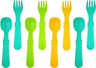 Re-Play 8Pk Utensil Set of Spoons and Forks - Aqua, Sunny Yellow, Green (Aqua Asst)