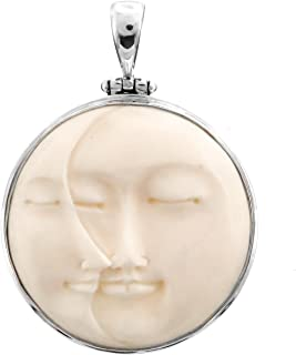Carved Sun Crescent Moon Moonface Duo Goddess Bison Bone 925 Sterling Silver Pendant, 1 3/4