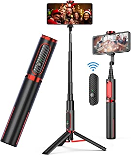 AUSELECT Selfie Stick Tripod, Lightweight Aluminum All in One Extendable Phone Tripod Selfie Stick Bluetooth with Remote f...