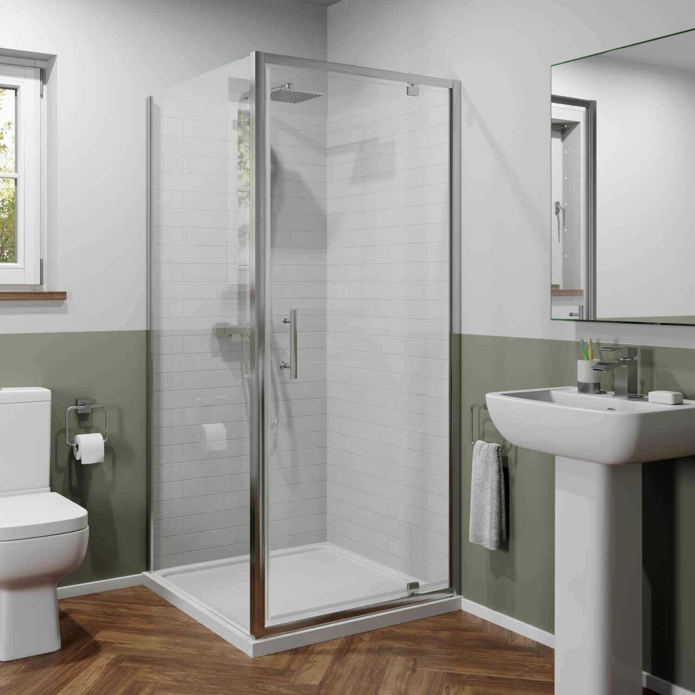 Twyford Bathroom 800mm x 800mm Moder Pivot Shower Door Side Panel Enclosure 6mm Safety Glass Framed