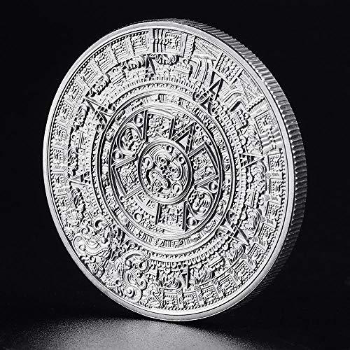 Moneda chapada en Plata Maya Calendario de profecía Maya de México Moneda Antigua de Recuerdo Moneda polaca Vintage Regalos coleccionables