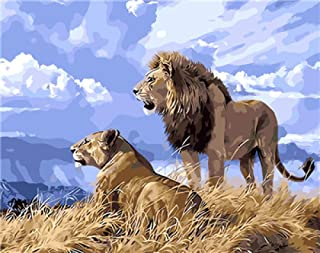 Wanghan Painting by Number King of The Prairie Lion Painting Gift for Friends Digital Oil Painting Home Decor Wall Art for Living Room Drawing by Numbers