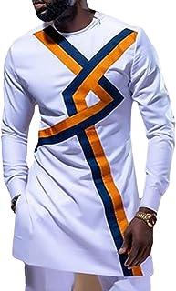 GaoYunQin Africain Mode Bloc de Couleur Manche Longue T-Shirt pour Hommes Haut Africain pour Hommes Chemise de Nuit Robe I...