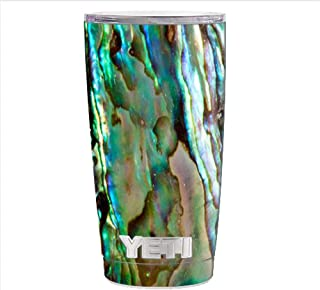 Skin Decal Vinyl Wrap for Yeti 20 oz Rambler Tumbler Cup Skins Stickers Cover / Abalone Sea Shell Gold Blues Beautiful