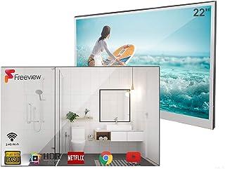 Soulaca Smart Espejo TV de 22 Pulgadas para Baño IP66 a Prueba de Agua con Wi-Fi Integrado