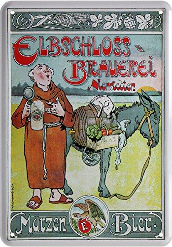 Elbschloss Brauerei Märzen Bier Reklame Blechschild Postkarte Blechkarte PKM 189