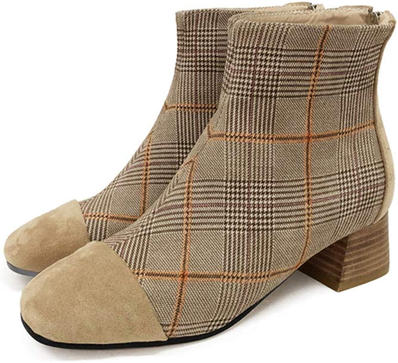 LEFT&RIGHT Damen Stiefeletten, Fashion Zips Damen Weiche Karree Flache Ankle Martin Schuhe,EU37=23.5Cm