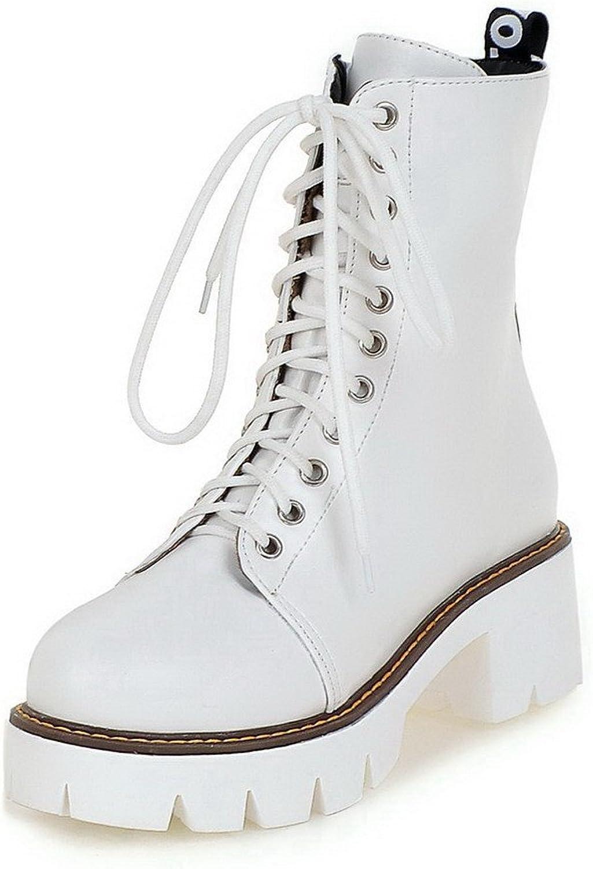 AmoonyFashion Women's Zipper Round Closed Toe Kitten-Heels PU Low-Top Boots with Metal