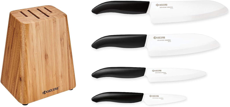 Kyocera Bamboo Knife Block Set  includes 4-slot Bamboo Block and 4 Kyocera Advanced Ceramic Knives-FK-Black Handle White Blade