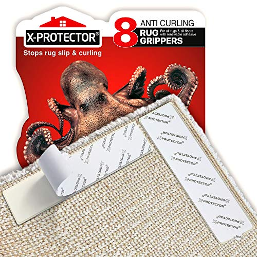 X-Protector Rug Grippers Best 8 pcs Anti Curling Rug Gripper - Keeps Your Rug in Place & Makes Corners Flat - Best Carpet Gripper with Renewable Carpet Tape – Ideal Non Slip Rug Pad for Your Rug!