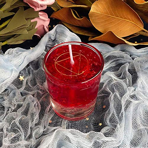 TEHWDE Magic Wishing Candle Glass Crystal Candle Witch Ritual Candle Fortune Study Love Blessing Candle Gel Wax Religious Candles (Color : Red)-Candles
