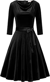 Belle Poque BPA02017 - Vestito da donna anni '50, vintage, retrò, rockabilly, linea A, in velluto, invernale, a maniche lu...