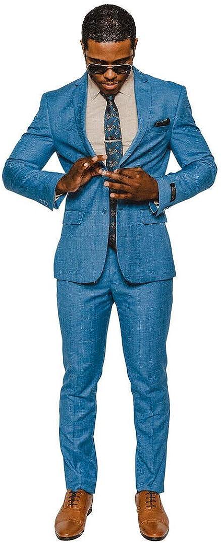 Slim Fit 2 Button Notch Laple Windowpane Plaid Suit 16308