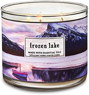 Bath and Body Works Frozen Lake Scented 3 Wick Candle Purple Mountain Scape Label