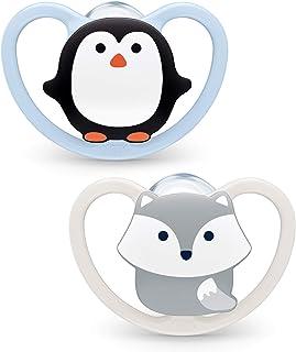 NUK Space Schnuller | 0–6 Monate | Schnuller mit extra Belüftung | BPA-freies Silikon | Pinguin & Fuchs | 2 Stück