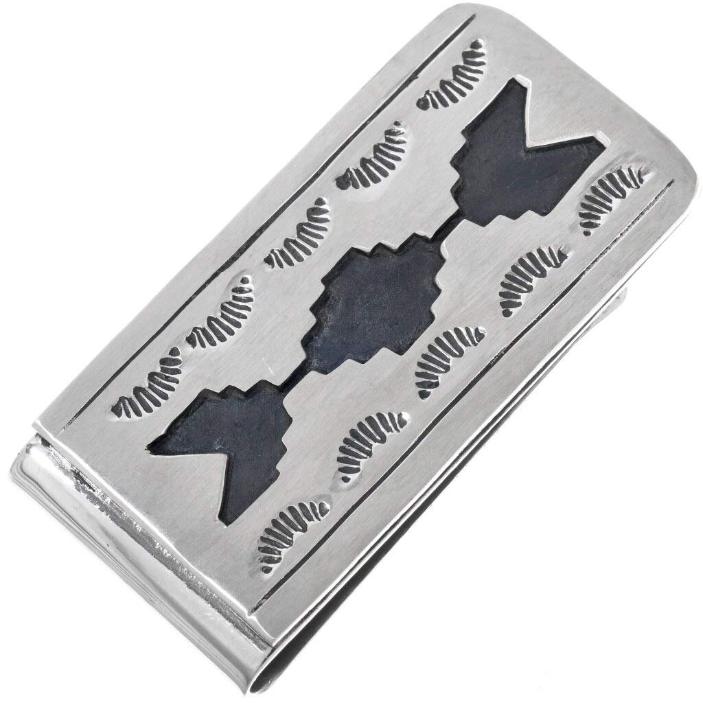 Native American Overlaid Max 76% OFF Silver Money Clip Traditional Navajo Bombing new work Pa