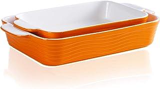Ceramic Baking Dish, JH JIEMEI HOME Bakeware Set Ceramic Glaze Baking Pan for Cooking, Kitchen, Cake Dinner, Banquet and D...