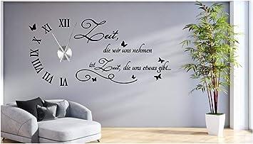 tjapalo® s-tku10 Wanduhr Wandtattoo Uhr Wohnzimmer Wandsticker Wandaufkleber  Spruch - Zeit die wir uns nehmen - mit und ohne Uhrwerk (mit großem Metall