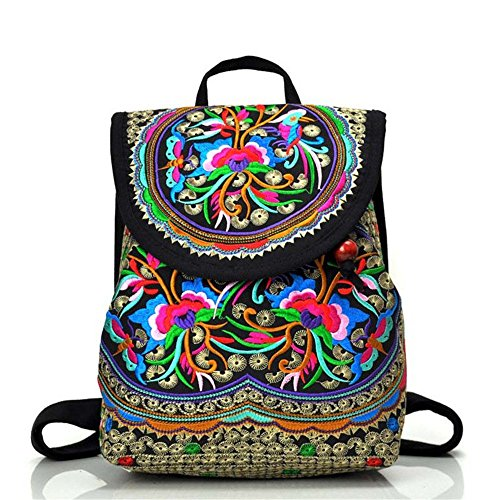 Retro Classic Style Mini Flower Backpack, Fashion Vintage Casual Floral Daypacks Solid Shoulder School Bag for Women and Girls (Zamioculcas zamiifolia)
