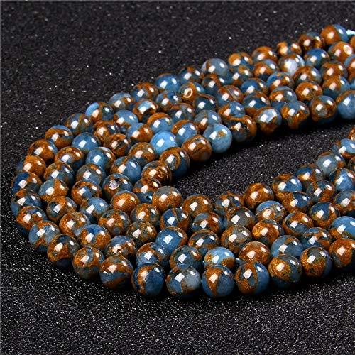 KUQIQI Dorado Natural Azul Cloisonne Cloisonne Beads 6 8 10 12mm Redonda de Cuentas de árboles de árboles Sueltas para la joyería Que Hace el Collar de Bricolaje