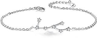 Women 925 Sterling Silver CZ Horoscope Zodiac 12 Constellation Astrology Link Bracelet