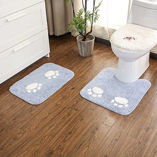 2 pièces coton antidérapant patte de chat tapis de bain ensemble, tapis de bain respirant doux confortable tapis de salle de bain absorbant l'eau anti-dérapant soutien de piédestal (bleu, 40*60CM)