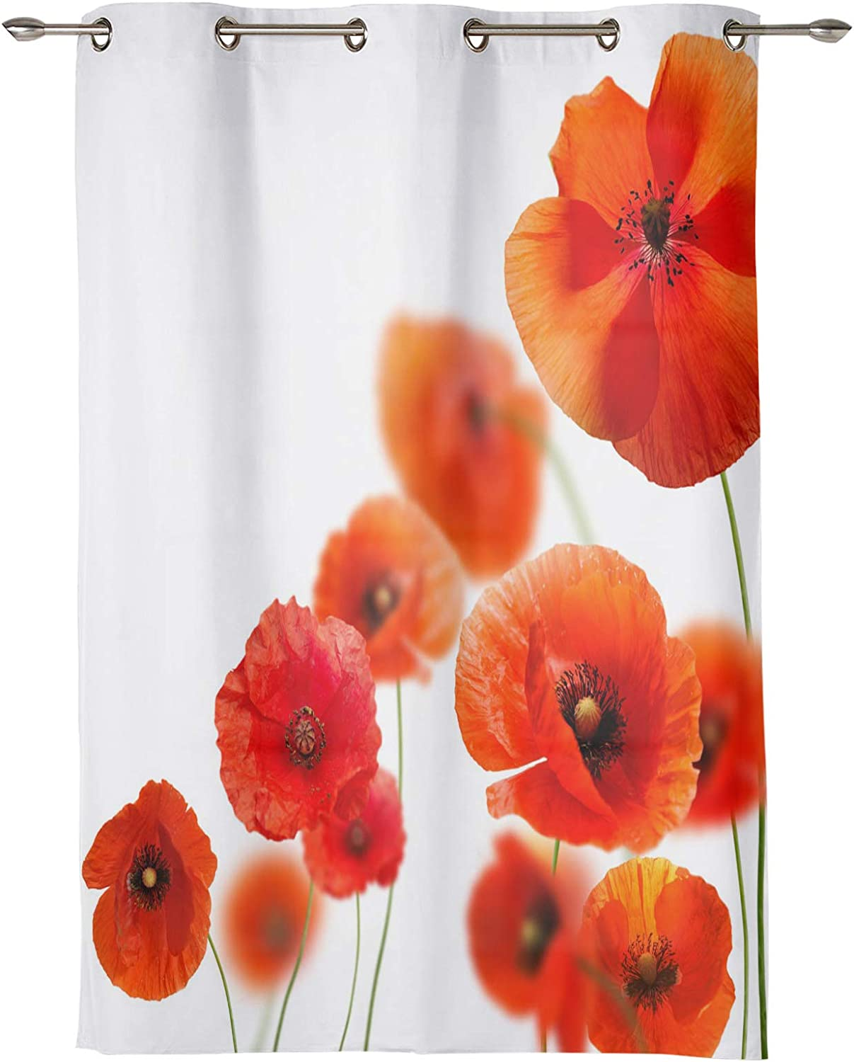 Window Curtains Red Gradient Direct store Poppy with Blooming Art 2021new shipping free Flower Grom