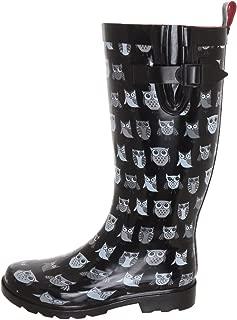 Ladies' Shiny Pop Owls Printed Rain Boot