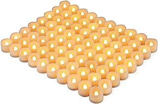 Kohree LED キャンドルライト 無香料 揺らぐ炎 ティーライトゆらゆら揺れる 結婚式/装飾用 本物にそっくり ティーライト 暖白 (80個)