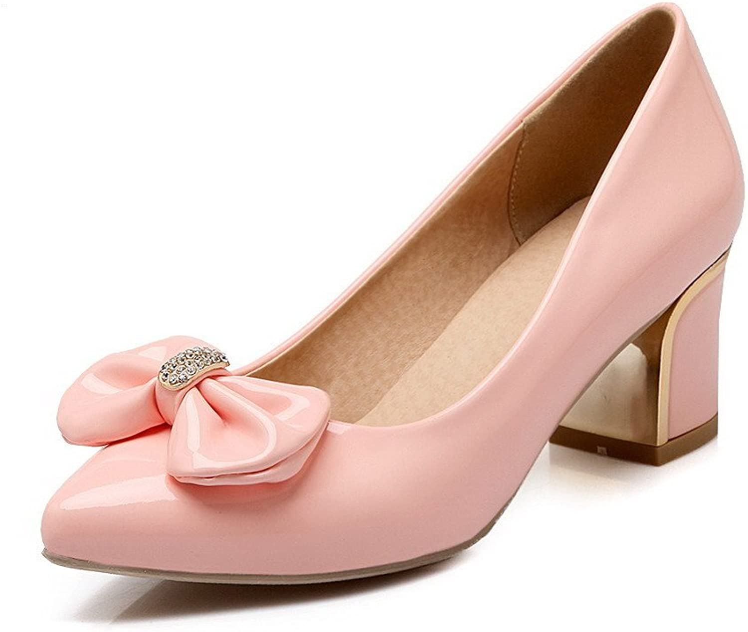 WeenFashion Women's Pull-on Kitten-Heels PU Solid Pointed Closed Toe Pumps-shoes