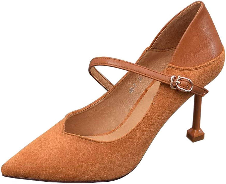 FLYRCX Elegantes Temperament Wildleder Stiletto zeigte High Heels Damen Katze mit einzelnen Schuhen Arbeitsschuhe