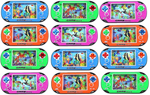 AJ Toys & Games 12 Pack of Water Ring Game Machine Arcade Video Children's Kid's Toy Handheld Water Game (Colors May Vary) Fun Party Favor, Goodie Bag or Stocking Stufferg