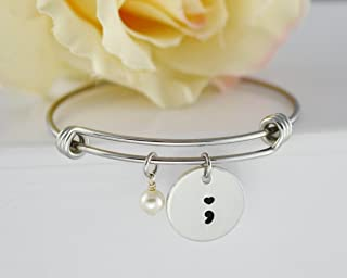Suicide Awareness Semicolon Stainless Steel Bangle, Expandable Bracelet, Swarovski Pearl, Mental Health, Semi colon Gift for Friends, My Story Isn't Over Yet, Mental Illness, Survivors Gift