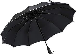 Umbrella, Travel Compact Sun Umbrella Windproof, 12 Ribs Mini Small Folding Umbrella Automatic Open Close with Reflective ...