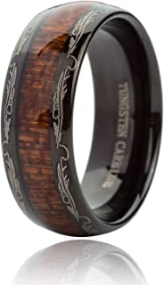 8MM Tungsten Carbide Rings for Men & Women Koa Wood Inlay Dome Edge Wedding Band Comfort Fit