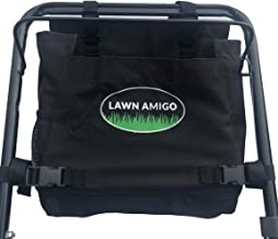 Lawn Amigo. Push Mower Garden Organizer. Bag Clips to Walk-Behind Mower Handle and Stores Tools Water Bottle Phone Tool Bags and iPhone (Black, Green, Red). Made in USA. Unique Gifts for Men. (Black)
