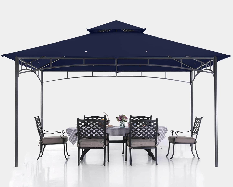 ABCCANOPY 10x12 Patio Gazebos for Patios Double Roof Soft Canopy Garden Backyard Gazebo for Shade and Rain, Navy Blue
