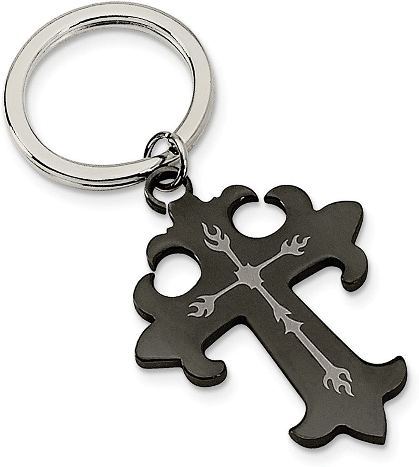 Beautiful Stainless Steel Polished Black IPPlated Cross Key Chain