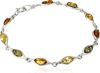 Sterling Silver Multi-color Amber Marquise-shaped Bracelet
