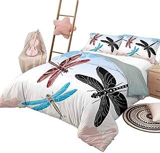 DayDayFun Juego de Funda nórdica Dragonfly Colchas de 3 Piezas Colcha Libélulas exóticas Volando en la Nube Cielo ala de Animal Ilustración de la Naturaleza Tamaño Completo Negro Azul Rosa Claro