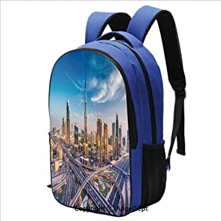 Backpack for School College Student Panoramic View of Dubai Arabian Cityscape H
