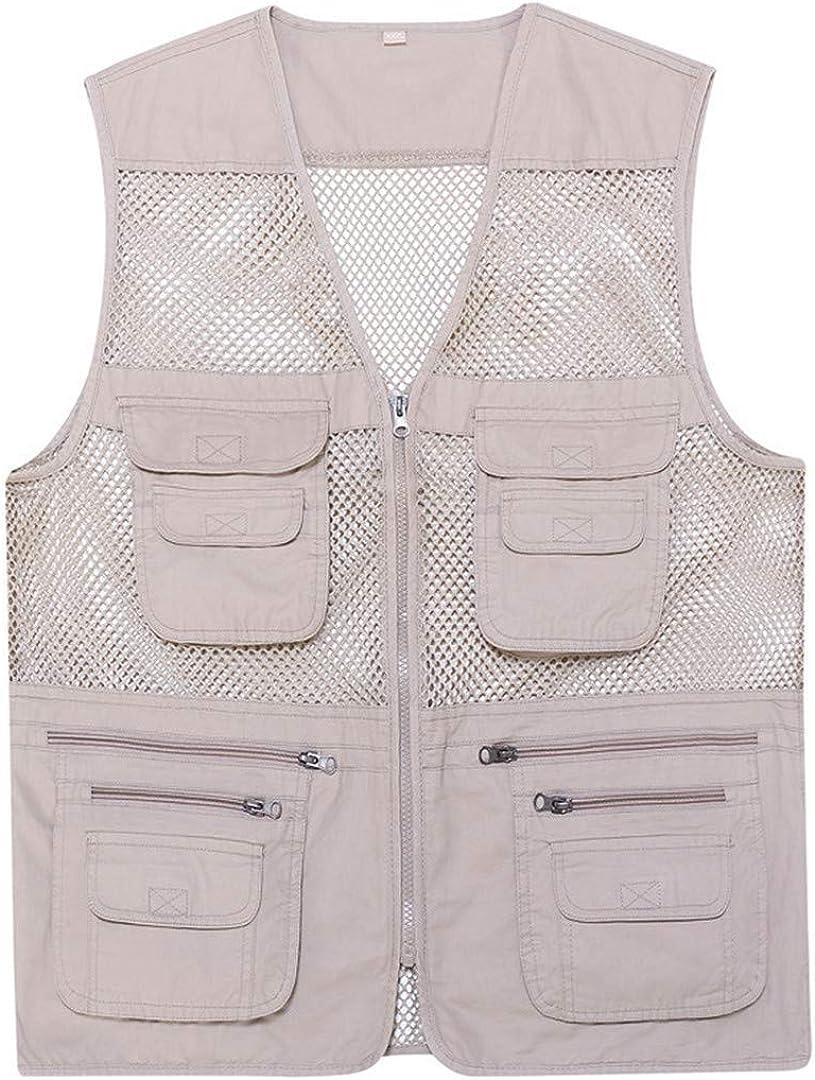 Cotton Men's Vest V-Neck Mesh Zipper Spring And Multi-Pocket Vest