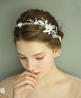 fxmimior - Tiara per capelli da donna, con cristalli, fiore e foglia, accessorio per capelli (argento)