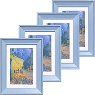 Muzilife 5x7 Wood Picture Frame - Beveled Profile - Set of 4 - for Picture 4x6 with Mat or 5x7 Without Mat (Blue)