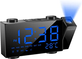 """SZMDLX Projection Alarm Clock for Bedrooms, FM Radio Alarm Clock with Temperature Display, 6"""" Large LED Display Dimmer, Du..."""