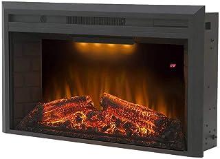 LHSX Chimenea Electrica Empotrable con Termostato Y Temporizador Calefactor Tipo Estufa De Pie Diseño Retro 750 O 1500 W