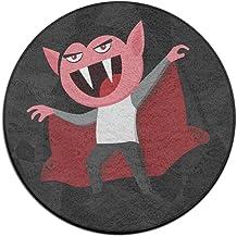 Round Area Rug Cartoon Vampire Man Comfy Non-Slip Living Dining Room Rug Bath Door Mat Indoor Outdoor Mats Rug Pads